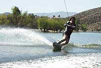 Tracey wakeboarding