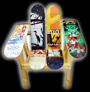 arm chair made from skateboards