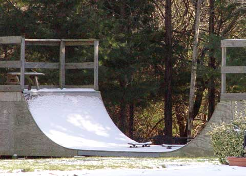 snow covered half pipe