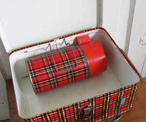 red plaid thermos