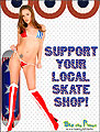 patriotic Support your local skateboard skate shop flyer girl sylss