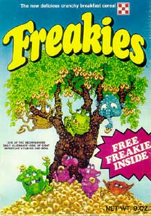 Freakies cereal box