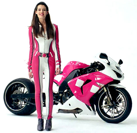 T-Mobile Girl Carly Foulkes leather and motorcycle
