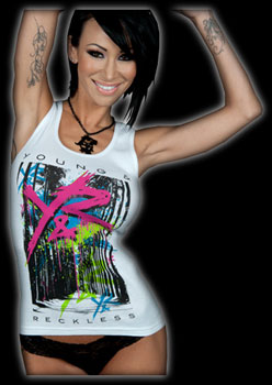 Sandee Westgate modeling Young and Reckless brand