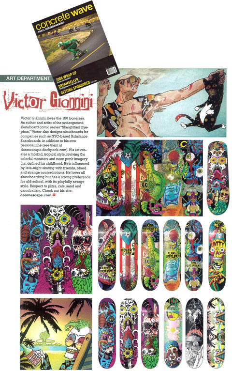 Victor Giannini art profile in Concrete Wave Skateboard magazine