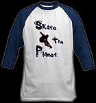 White skateboard t-shirt Skate The Planet logo jersey